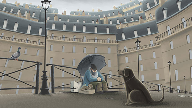 """Hungry Dogs"" was made by artist Louis Meilleur Roy. He says, ""because Paris is a fairly easy city to depict—it's architecture being so unique—not a lot was needed to convey the illustration's setting. In order to reveal the paradox that arises when witnessing loneliness in the middle of a city, I went with a much looser composition that highlights the presence of these huge Haussmann buildings. I must admit that the grey sky satisfied me very much, since it clearly reveals the smog–like atmosphere of Paris. As for my process, I started by making basic flat shapes using the texture brush and then relied heavily on the ink markers and blots collection to give them shading and to infuse the overall drawing with a handmade look. The desaturated palette of the illustration is meant to contrast with the stronger blue of the man's coat and his lighter skin tone to center the audience's attention on the subject."""